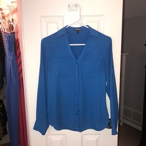 Express, Royal Blue Fit Portofino Blouse